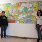 Adrienne and Isabelia (RBS Alumni) with of our finished mural from the &quot;Now You See It, Now You Don&#039;t&quot; show at the Flat Iron Building 2010