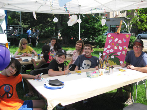 The Durand family, youth art mentor Mindy as well as with Claire, Jittan and Caden participate in our Think Art! mural and installation at A day in our Village 2011
