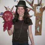 Teen artist Monica with her sculpture 2011