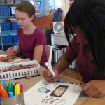 "Vivienne and Jittaun working on their art during one of our Artist Inspired Workshops at ""The Candy Store"" Pop-Up Gallery"