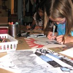 "Caroline and Lillie working on their art during one of our Artist Inspired Workshops at ""The Candy Store"" Pop-Up Gallery"