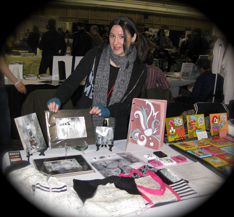 Kelly D. Pelka, Right0Brained Studio Owner/Youth Art Mentor at her booth during the MoCCA Festival 2011 in New York City
