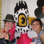 "Monica and Teagan take a picture with Mindy Fisher's ""Chicken Lady"" during ""The Candy Store"" Pop-Up Gallery show"
