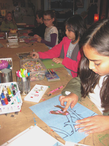 "Youth artists create birds with oil pastels in the November 4th ""$5 Fridays"" Artist Workshop!"