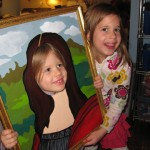 "Georgia helps out her sister Winnie becomes the ""Mona Lisa"" at the WSMS art opening on 12/09/2011"