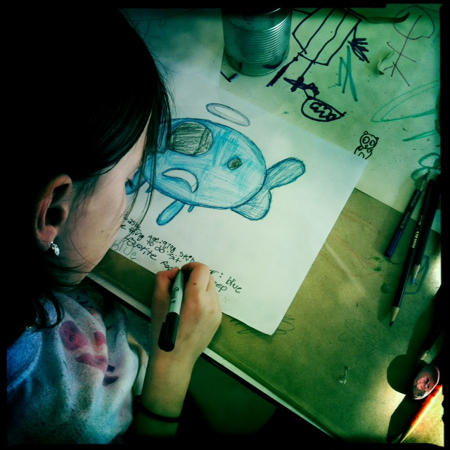 Grace, at last month's cartooning workshop.