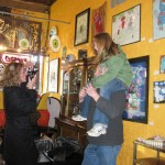 Adele gets a lift from Dad at Eyewant during out Spring Art show in Wicker Park.